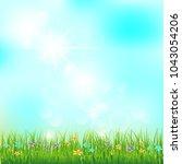 spring or summer landscape ... | Shutterstock .eps vector #1043054206