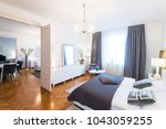 elegant and luxury bedroom...   Shutterstock . vector #1043059255