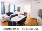 modern living room with wood...   Shutterstock . vector #1043059258
