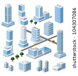 set of vector tall buildings in ... | Shutterstock .eps vector #104307086