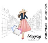 beautiful fashion model in hat. ... | Shutterstock .eps vector #1043090926