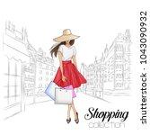 beautiful fashion model in hat. ... | Shutterstock .eps vector #1043090932