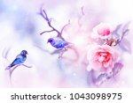 fantastic colorful small birds ... | Shutterstock . vector #1043098975