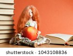 beautiful doll with an apple... | Shutterstock . vector #1043108836
