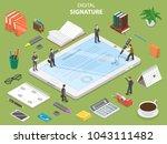 digital signature flat... | Shutterstock .eps vector #1043111482