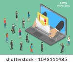 e mail marketing flat isometric ... | Shutterstock .eps vector #1043111485