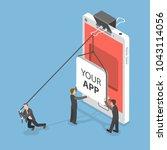 your app flat isometric concept....   Shutterstock . vector #1043114056