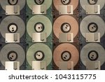 colourful floppy disks pattern... | Shutterstock . vector #1043115775