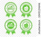 bio certified batch labels set. ... | Shutterstock .eps vector #1043124646