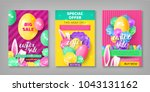 three easter sale invitations.... | Shutterstock .eps vector #1043131162