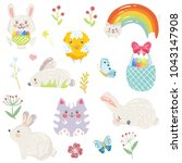 easter set with bunny eggs... | Shutterstock .eps vector #1043147908