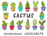 set of isolated cactus in color ... | Shutterstock .eps vector #1043148178