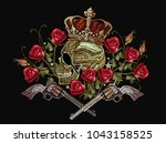 embroidery skull in crown ... | Shutterstock .eps vector #1043158525