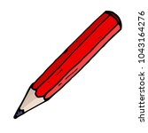 red pencil. hand drawn sketch.... | Shutterstock . vector #1043164276