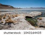 laguna y termas de polques hot... | Shutterstock . vector #1043164435