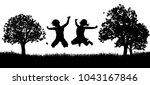 two happy children outdoors in... | Shutterstock .eps vector #1043167846
