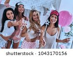best party  four attractive... | Shutterstock . vector #1043170156