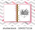 pink bullet journal and hand... | Shutterstock .eps vector #1043171116