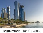 Stock photo west bay on the corniche of doha in qatar 1043172388