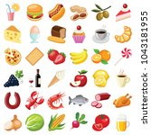 food and drink icon collection  ... | Shutterstock .eps vector #1043181955