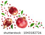 pomegranate with leaves... | Shutterstock . vector #1043182726