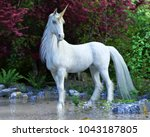 mythical white unicorn posing... | Shutterstock . vector #1043187805