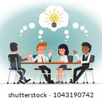 a team of office employees... | Shutterstock .eps vector #1043190742