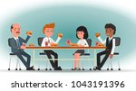 a team of office workers eating ... | Shutterstock .eps vector #1043191396