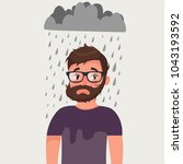 unlucky man with bad mood under ... | Shutterstock .eps vector #1043193592