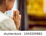 close up grandmother's hand... | Shutterstock . vector #1043209882
