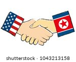 american and the north korean... | Shutterstock .eps vector #1043213158