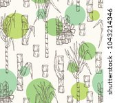 seamless pattern with sugarcane ... | Shutterstock .eps vector #1043214346