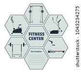 sign of the fitness center with ... | Shutterstock .eps vector #1043234275