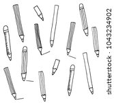 pencils. vector pattern in... | Shutterstock .eps vector #1043234902