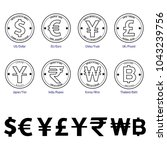 set of currency symbol on... | Shutterstock .eps vector #1043239756