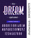 vector glitch style alphabet... | Shutterstock .eps vector #1043242975