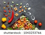 salad ingredients with lettuce  ... | Shutterstock . vector #1043253766