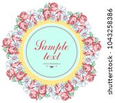 wreath of chamomile and rose... | Shutterstock .eps vector #1043258386