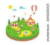 flat design amusement park...   Shutterstock .eps vector #1043260315