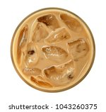 top view of coffee latte... | Shutterstock . vector #1043260375