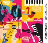 set of music cards and banners. ... | Shutterstock .eps vector #1043260642