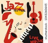 jazz music festival poster with ... | Shutterstock .eps vector #1043260645