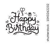 hand lettering of happy... | Shutterstock .eps vector #1043262232