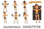 bodybuilding woman set. many... | Shutterstock .eps vector #1043279758