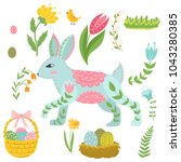 illustration with rabbit and...   Shutterstock .eps vector #1043280385