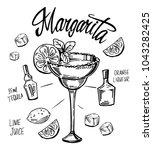 margarita cocktail. hand drawn... | Shutterstock .eps vector #1043282425