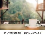 coffee espresso on wood table... | Shutterstock . vector #1043289166