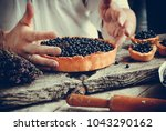 summer blueberry story | Shutterstock . vector #1043290162