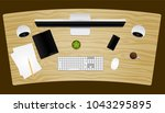 office desk top view with... | Shutterstock .eps vector #1043295895