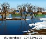 flooded village. spring rising... | Shutterstock .eps vector #1043296102